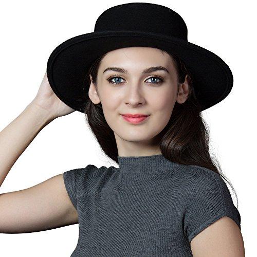 Womens 100% Wool Felt Hat Winter Panama Fedora Pork Pie Hats Bow Black