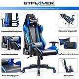 GTPLAYER Gaming Stuhl Bürostuhl Gamer Ergonomischer Stuhl Einstellbare Armlehne Einteiliger Stahlrahmen Einstellbarer Neigungswinkel Blau - 3