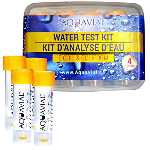 AquaVial 4 Test Acqua Presenza Escherichia Coli/Coliformi | Kit Analisi Batteriologica Acqua Potabile Contro Batteri | 100% Affidabile Rileva Concentrazioni da 1 CFU/ML | Confezione 4 Test