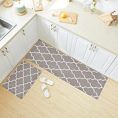Poowe 2PC Kitchen Mat Cushioned Anti-Fatigue Kitchen Rug, Waterproof Non-Slip Kitchen Mats and Rugs Heavy Duty PVC Ergonomic Comfort Foam Rug for Kitchen, Floor Home, Office, Laundry