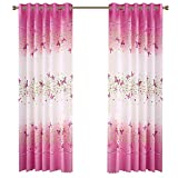 78 in curtain panel - FashionMall 2 Pcs Butterfly Flowers Printing Semi-Blackout Curtains Grommet Top Curtains Window Curtain Panels for Girls Room Bedroom W40 x L78 inch (40