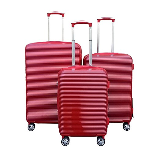 Kemyer Series 850 Expandable Hardside Luggage Spinner Wheeled Suitcase 28, 24 & 20 inch, 3 pc set (One Size, Red)