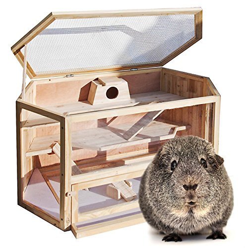 WilTec Jaula Caseta XXL Madera hámster roedores Animales pequeños ratón Rata conejera Tipo casa