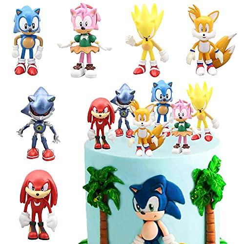 MEZHEN Torta Decorazione per Sonic Compleann Topper Torta Sonic Festa Decorazione per Bambini Compleann Decorazione 6 Pezzi