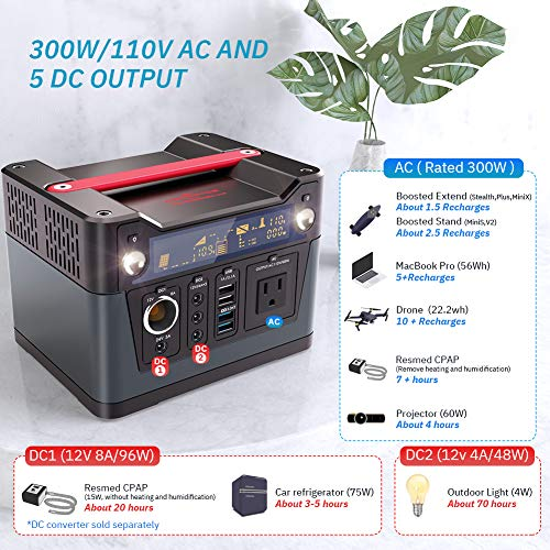 ROCKPALS 300W Portable Power Station, 280Wh CPAP Backup Battery Pack UPS Power Supply 110V Pure Sine Wave AC Outlet, QC3.0 USB, 12V/24V DC, LED Flashlight for Camping, Home, Emergency