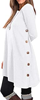 E-Scenery Womens Long Sleeve Tunic Dress Autumn Winter Casual Pullover Button Side Tops