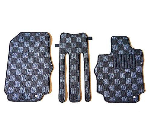 日産 セレナ C25系 専用 フロアマット カーマット ※フロントマットのみ3枚 チェック柄 黒/灰(国内産) FBA
