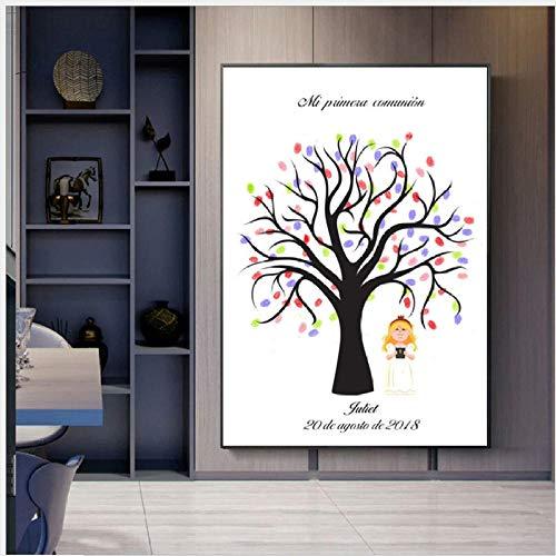 Huella Digital Firma Pintura Árbol Niña Comunión Tablero De Mensajes DIY Bebé Bautismo Fiesta De Boda Regalo De Cumpleaños Decoración Kit De Ilustraciones Souvenir Mural