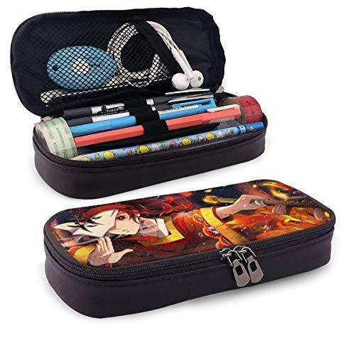 Demon Slayer- Kimetsu No Yaiba Estuche de piel para lápices de alta capacidad, bolsa de papelería para estudiantes, estuche para lápices portátil para suministros escolares y de oficina