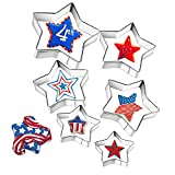 6 Pieces Star Cookie Cutters, 4th of July Cookie Cutters, Assorted Sizes Stainless Steel Star Shapes,Large Star Cookie Cutter Molds for Making Biscuit Molds Fondant Decorations