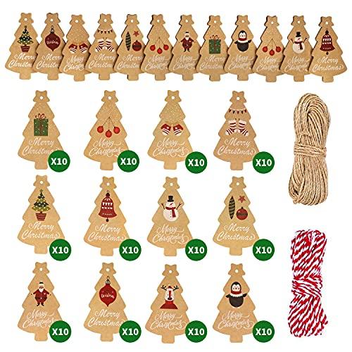 Viosmut Etiquetas de Regalo Navidad, 120 Piezas Etiquetas Papel Kraft, Chrismas Tags Colgantes con Cuerdas de 2 Rollo 10m...