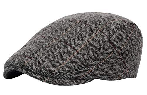 AIEOE Herren Baskenmützen Barette Herbst Winter Karierte Einstellbar Hüte Mütze Caps