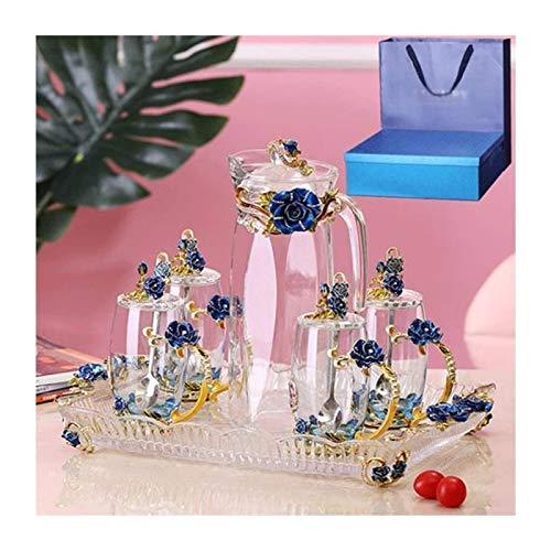 Teapots Teapot Stemless Wine Glasses Tea Set Water Cup Tea Cup Teapot Enamel Cup Crystal Cup Home Office Cup Set Gift Box Creative Gift/14 Piece Set (Color : Blue)