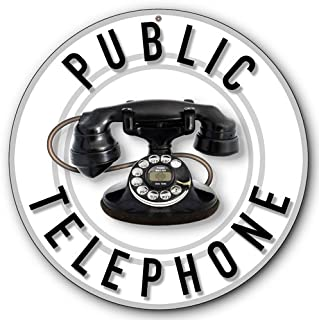 Public Telephone Tin Metal Round Sign, Western Electric Model 202 Phone :: 14 inches diameter [AYY016]