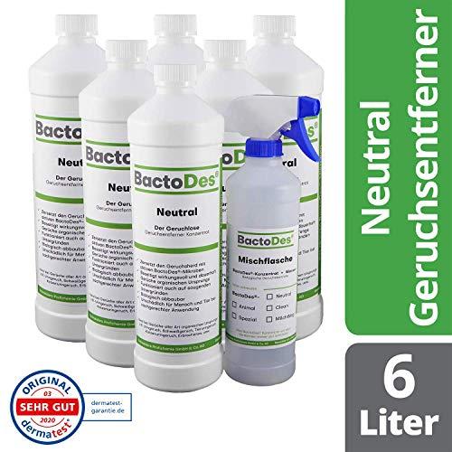 BactoDes Neutral 6X 1l, Hundegeruch Geruchtsentferner Konzentrat inkl. Spray Mischflasche, Geruchsneutral