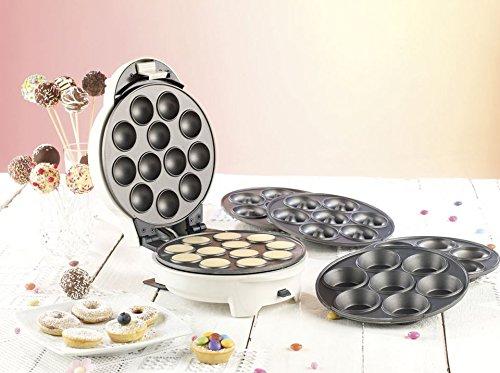 Rosenstein & Söhne Cake Pop Maker 3 in 1: 3in1-Donut-, Cupcake- und Cakepop-Maker mit Antihaftbeschichtung (Donut Muffin & Cake Pop Maker)