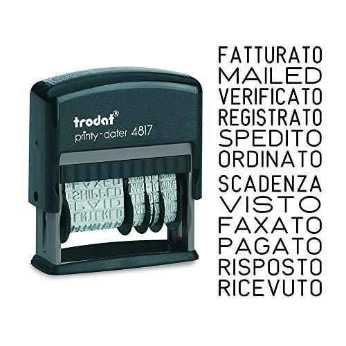 Trodat Printy 4817 Timbro polinomio con Data Autoinchiostrante, 12 Testi Italiano - Cartuccia Nera – Dimensione max piastra di testo 48 x 3,8 mm