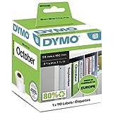 DYMO LW etiquetas auténticas multiusos/de LAF grandes   59mmנ190mm   rollo de 110etiquetas con reverso fácil de retirar   autoadhesivas   para etiquetadoras LabelWriter