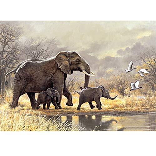5D Diamond Painting Diamant Malerei Painting Bilder, Wowdecor Elefant Familie DschungelKranTiere Full Set Groß DIY Diamant Gemälde Malen Nach Zahlen