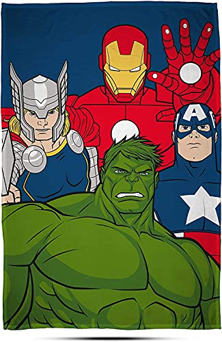 M-ARVEL AVENGERS Marvel Avengers 'Mission' - Manta de forro polar con estampado grande, poliéster, multicolor