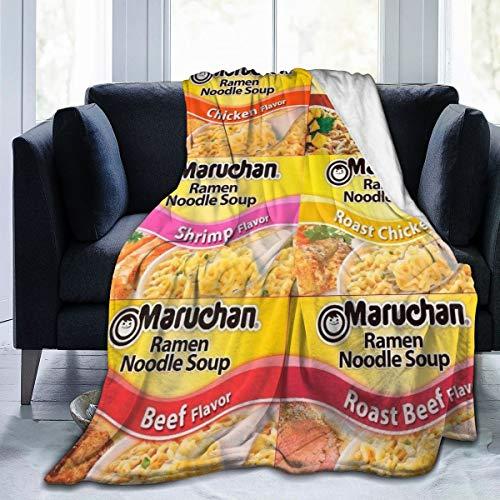 Roslint Soft Blanket Flannel Throw Ramen Noodle Soup Beef Flavor 6 Flavors Blanket Luxury Unique Lightweight Cozy Warm Blanket for All Season Medium 60