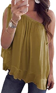 MK988 Women's Pleated Chiffon Solid Color One-Shoulder T-Shirt Blouse Tank Top