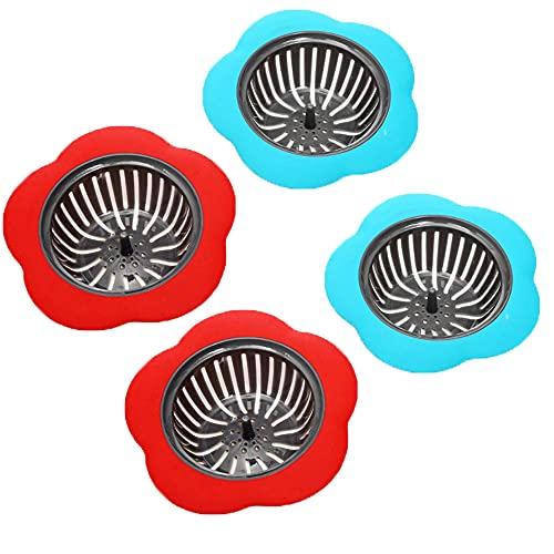 4 Piezas Filtro de Fregadero de Cocina, Colador de Fregadero, Colador Desagüe Cocina, Colador de Fregadero de Plástico, Colador Fregaderode Flor, para Protección de Salida de Agua Filtro (Rojo, Azul)
