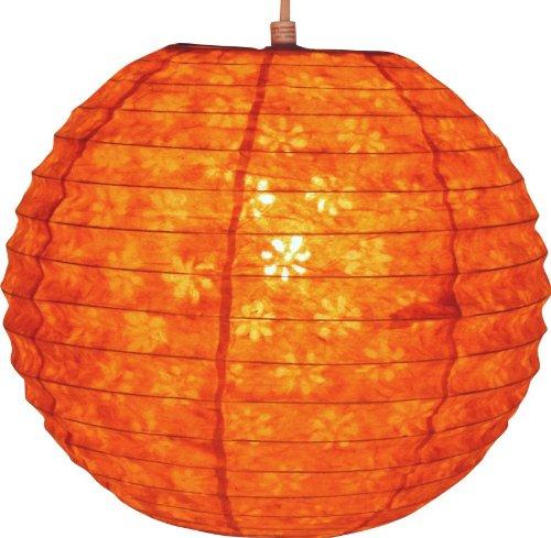 Guru-Shop Runder Lokta Papierlampenschirm, Hängelampe Corona Ø 30 cm - Orange, Lokta-Papier, Asiatische Deckenlampen aus Papier & Stoff