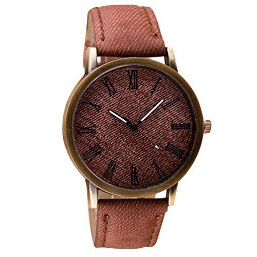 Toamen Unisexo Reloj De Pulsera Retro De Vaquero Reloj De Pulsera De Cuarzo AnalóGico De Cuero De Vaquero (B)