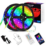 Shotory LED Lights for Bedroom,32.8ft, Bluetooth APP Control LED Strip with Music Sync, SMD 5050 RGB Color Changing LED Strip Lights for Room, Kitchen, Home, Game Room