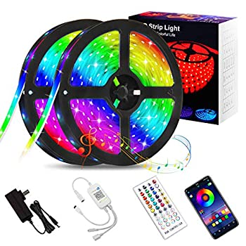 Shotory LED Lights for Bedroom,32.8ft Bluetooth APP Control LED Strip with Music Sync SMD 5050 RGB Color Changing LED Strip Lights for Room Kitchen Home Game Room