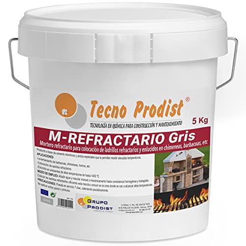 M-REFRACTARIO GRIS de Tecno Prodist - (5 kg) Mortero refractario especial para ladrillos refractarios y enlucidos en zonas que alcancen altas temperaturas como barbacoas, hornos o chimeneas.