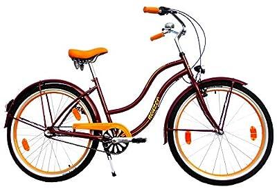 NEUZER Damen Beachcruiser 26 Zoll 3 Gang Shimano weinrot orange StVZO-Ausstattung