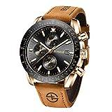 BERSIGAR Reloj de Pulsera de Cuarzo analógico para Hombre Elegante cronógrafo 30M Impermeable Reloj para Hombre Correa de Cuero marrón