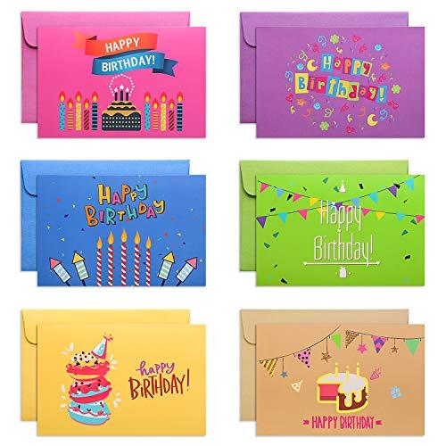 Mesha Birthday Cards Assortment, Happy Birthday Greeting Cards, Birthday Cards Bulk 12-Pack, Birthday Cards for Men & Women, Kids, Adults, Birthday Cards with Envelopes, Blank Birthday Cards
