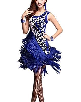 Whitewed Bling Fringe 20s Flapper Great Gatsby Dance Theme Style Costume Dress