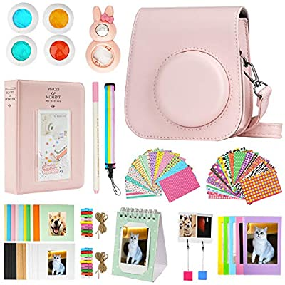 Blummy Mini 11 Camera Accessories Bundles Compatible with FujiFilm Instax Mini 11 with Camera Case/Book Album/Selfie Len/Wall Hanging Frames/Stickers/Pen?13 in 1? (Pink)