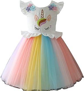 10ed43f2d100f Licorne Filles Princesse Robe Fleurs Arc en Ciel Robes Jusqu à Enfant  Cosplay Noce Fantaisie