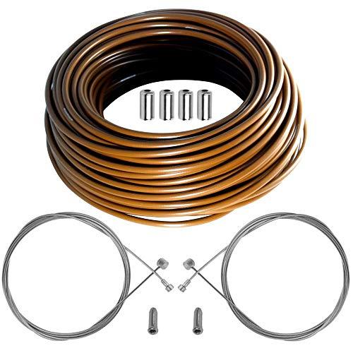Kit de cable funda de freno Teflon para bicicleta, color marrón