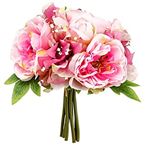 10″ Peony & Sweet Pea Silk Flower Bouquet -2 Tone Pink (Pack of 12)
