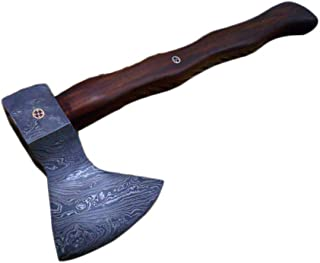 Damascus Steel Log Splitter Axe, 14.5 Inches Long Hand Forged with Rose Wood Round Handle, Bearded Hiking Battle Axe, Thick Cow Hide Leather Sheath