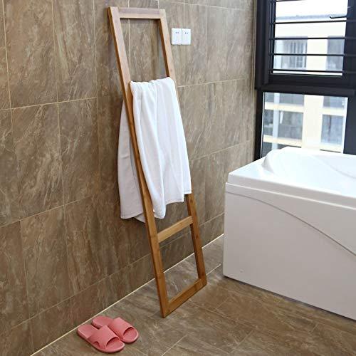 Staande Bamboe handdoeken Ladder Rek - badkamer handdoekhouder voor tegen de muur - handdoekladder - handdoekenrek hout - handdoekrek - Decopatent®