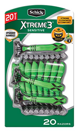 Schick Xtreme 3 Sensitive Skin Razors 20-Pack - Flexible Blades with Aloe Fights Razor Burn