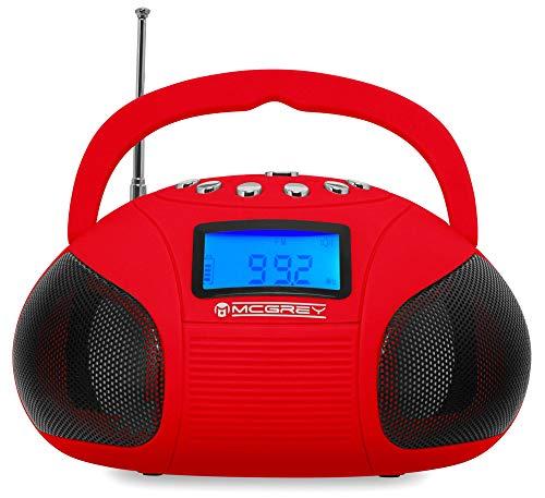 McGrey MC-50BT-RD Bluetooth Lautsprecher - Boombox mit UKW Radio-Wecker und Uhr - USB und SD Player - Betrieb über auswechselbaren Handy Akku oder Netzteil - Rot
