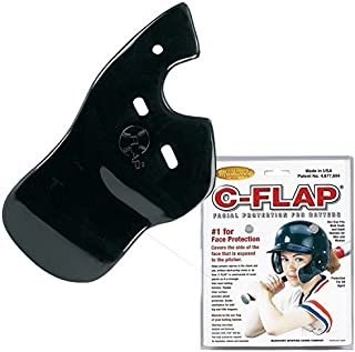 Insider Bat Baseball C-Flap Batter's Helmet Face Protection Guard Attachment (5 Colors for Left & Right Handed Hitters) (Black, Right Handed Hitter)