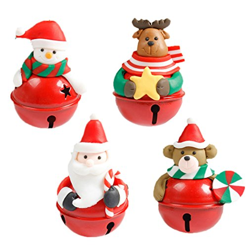 FunPa kerstklok 4 stuks decoratie van de kerstklok Santa Claus sneeuwman, rendier, kerstbeer hangen, kerstdecoratie