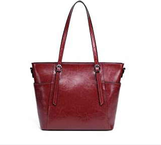 Fashion Simple Multi-Function Large Capacity Shoulder Bag Shoulder Slung Leather Handbag (Color : Red)