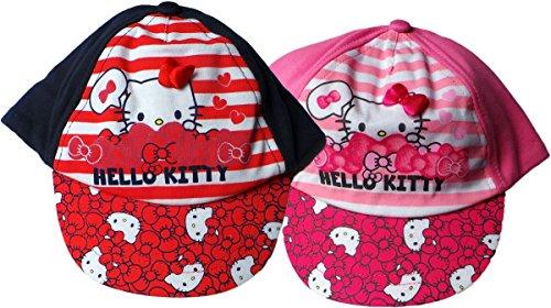 2er Set - Sanrio Hello Kitty Cap - Baby/Kleinkinder - Smile mit Kitty - Rot/Blau/Rosa/Mehrfarbig