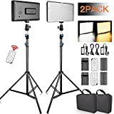 FOSITAN 2-Packs 336PCS Dimmable LED Video Light 3200K 5600K Video Lighting Kit LED Light Panel with 79 inches Stand and Batteries Remote Control Carry Bag for YouTube Video Photo Studio Photography