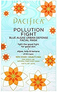 Pacifica Pollution Fighter Blue Algae Urban Defense Facial Mask, 12Count